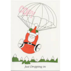 Christmas Card - Santa Dropping In (Cartoon)
