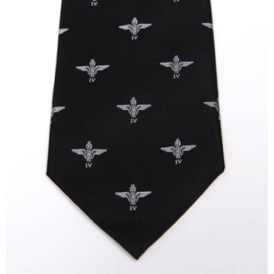 Tie, 4 Para Cap Badge on Black (Polyester)
