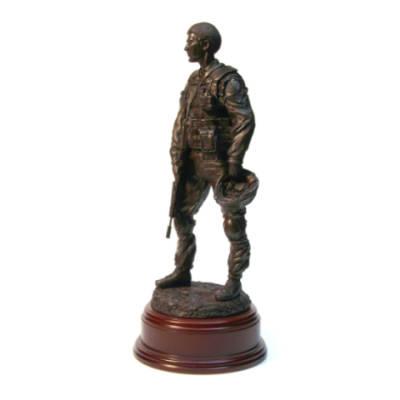 Afghanistan Debrief Para Statue (11 Inch, Resin Bronze)