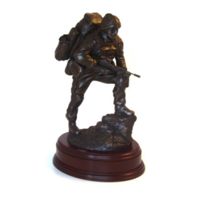 Afghanistan Point Man Para Statue (11 Inch, Resin Bronze)