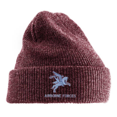 Antique Turn-Up Beanie Hat - Maroon - Pegasus Airborne Forces