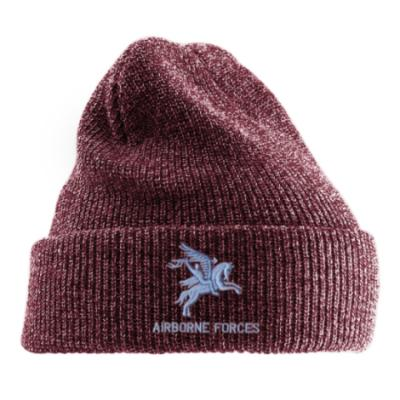 *CLEARANCE* Antique Turn-Up Beanie Hat, Maroon, Pegasus Airborne Forces