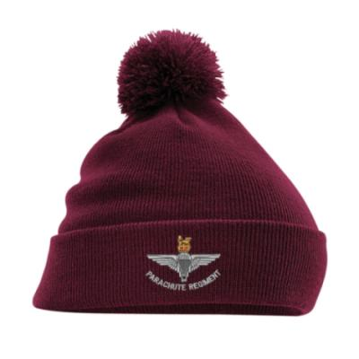 Turn-Up Bobble Beanie Hat - Para Cap-Badge