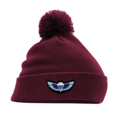Turn-Up Bobble Beanie Hat - Maroon - Sabre Wings