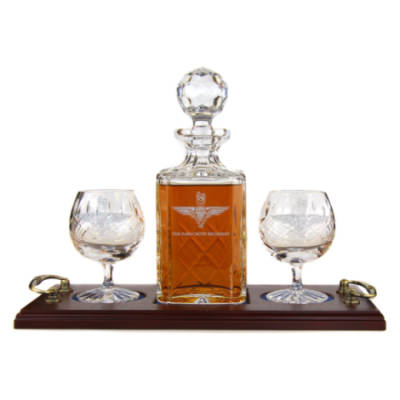 Brandy 3 Piece Serving Tray - Panel Cut Square Decanter and Brandy Goblets (2)