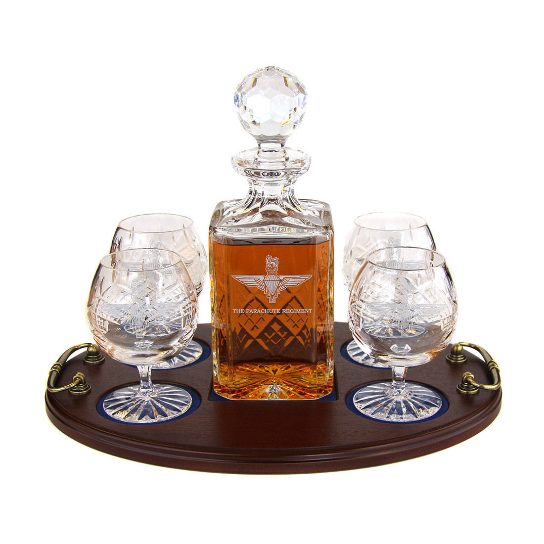 Brandy 5 Piece Serving Tray - Panel Cut Square Decanter and Brandy Goblets (4)