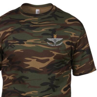 *CLEARANCE* Camo T-Shirt, Large, DPM, Para Cap-Badge
