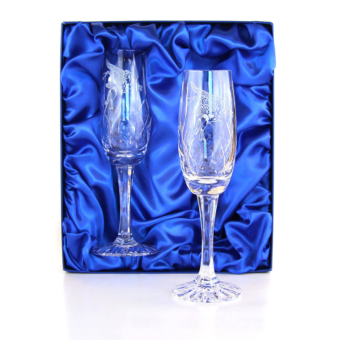 Panel Cut Champagne Flutes (Pair) in Presentation Box