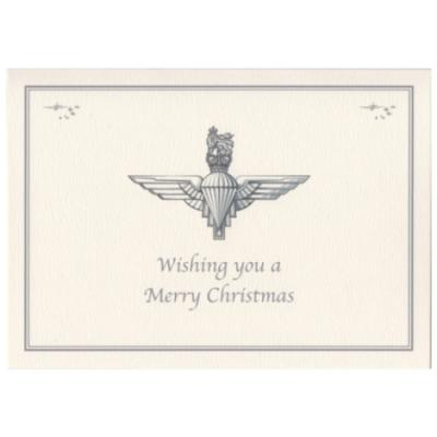Christmas Card - Cream with Para Cap Badge