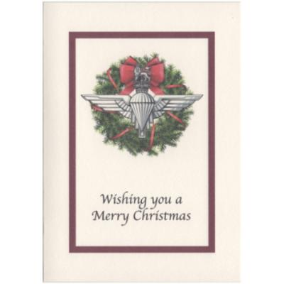 Christmas Card - Cream with Christmas Para Wreath
