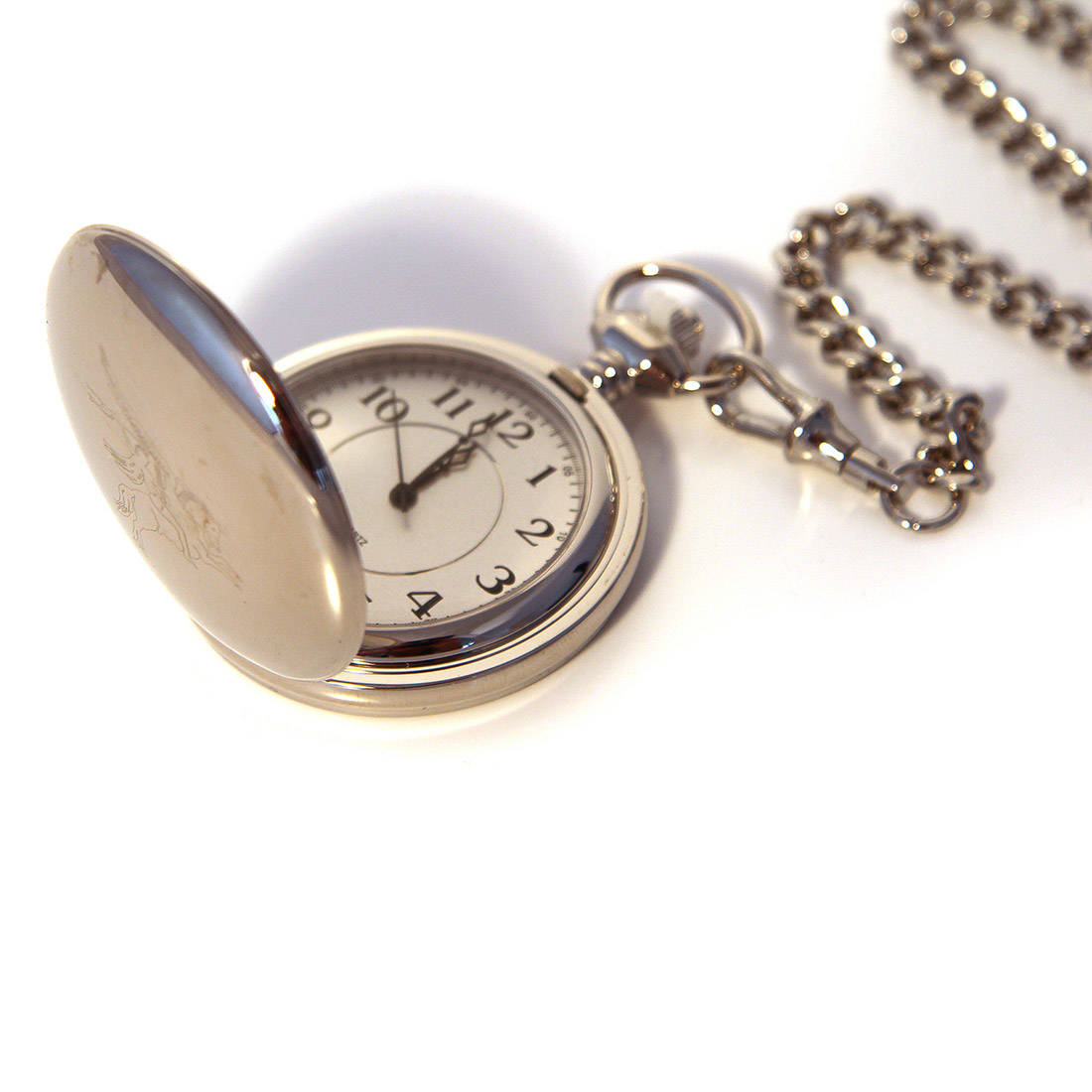 Chrome Finish Engraved Pocket Watch - Para or Pegasus