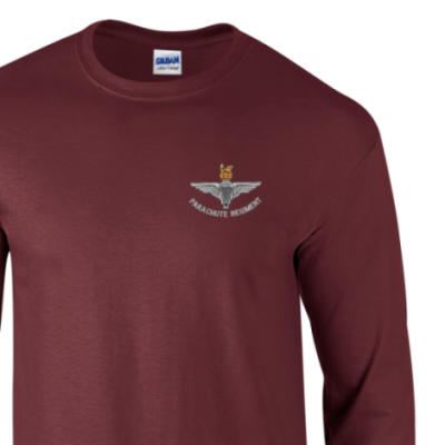 Long Sleeved T-Shirt - Maroon - Para Cap-Badge