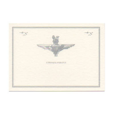 Greetings Card - Cream with Para Cap Badge