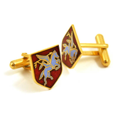 Pegasus Shield Cufflinks (Enamel Badge)