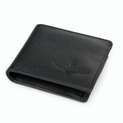 Embossed Black Deluxe Leather Wallet with Gift Box - Para