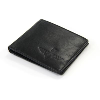 Embossed Black Leather Bifold Wallet - Parachute Regiment