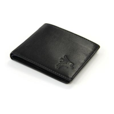 Embossed Black Leather Bifold Wallet - Pegasus