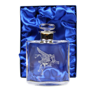 Engraved Glass Hip Flask (35cl) with Platinum Neck in Presentation Box