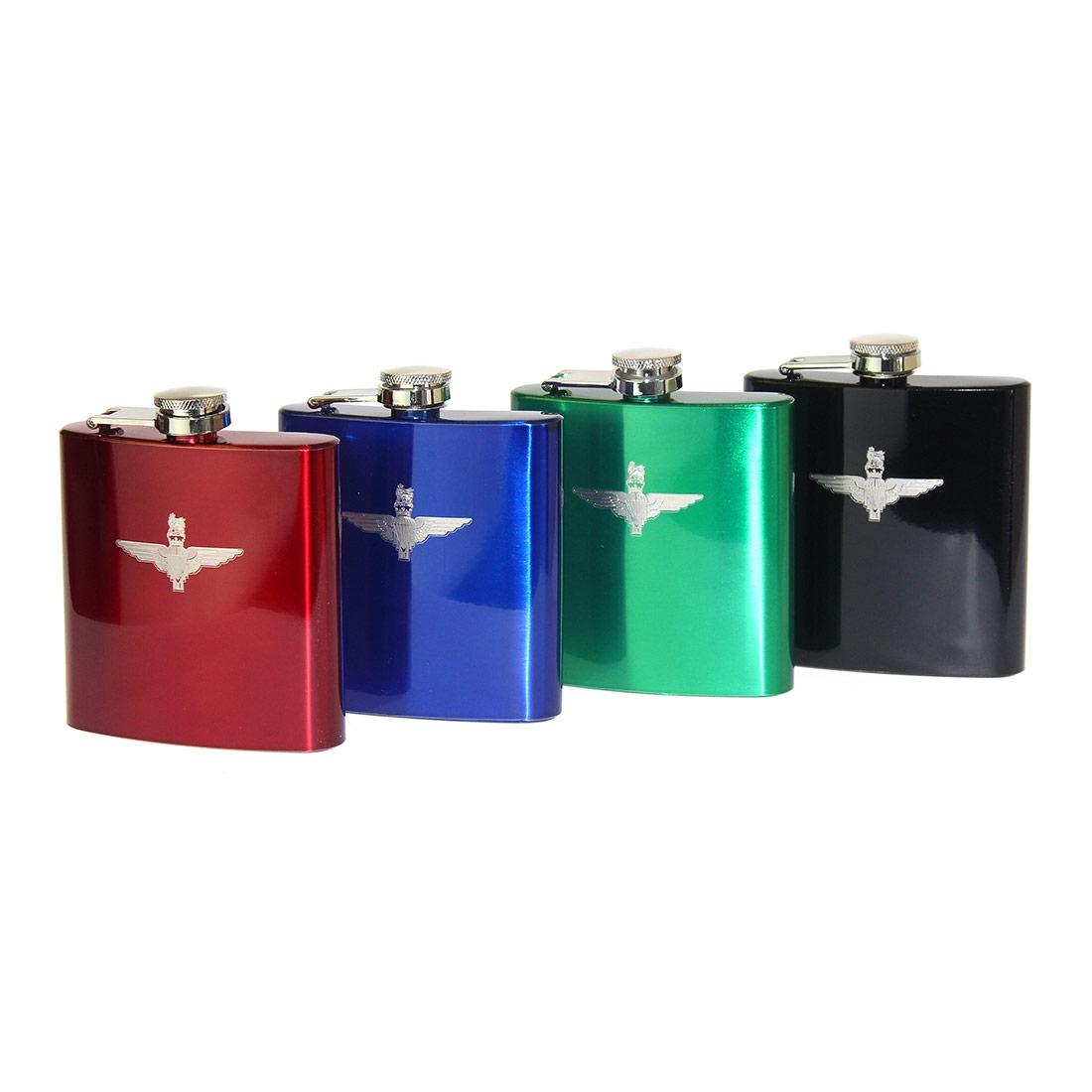 Engraved Hip Flask in Presentation Box - Para or Pegasus