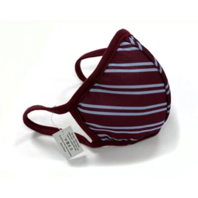 Maroon and Blue Striped Face Covering (Mask) with Washable FFP2 Filter