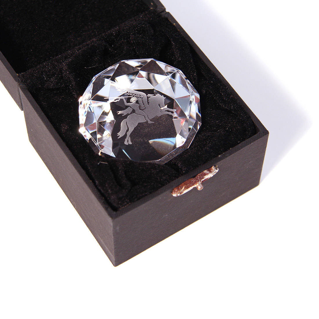 Facet Cut Engraved Crystal Paper Weight