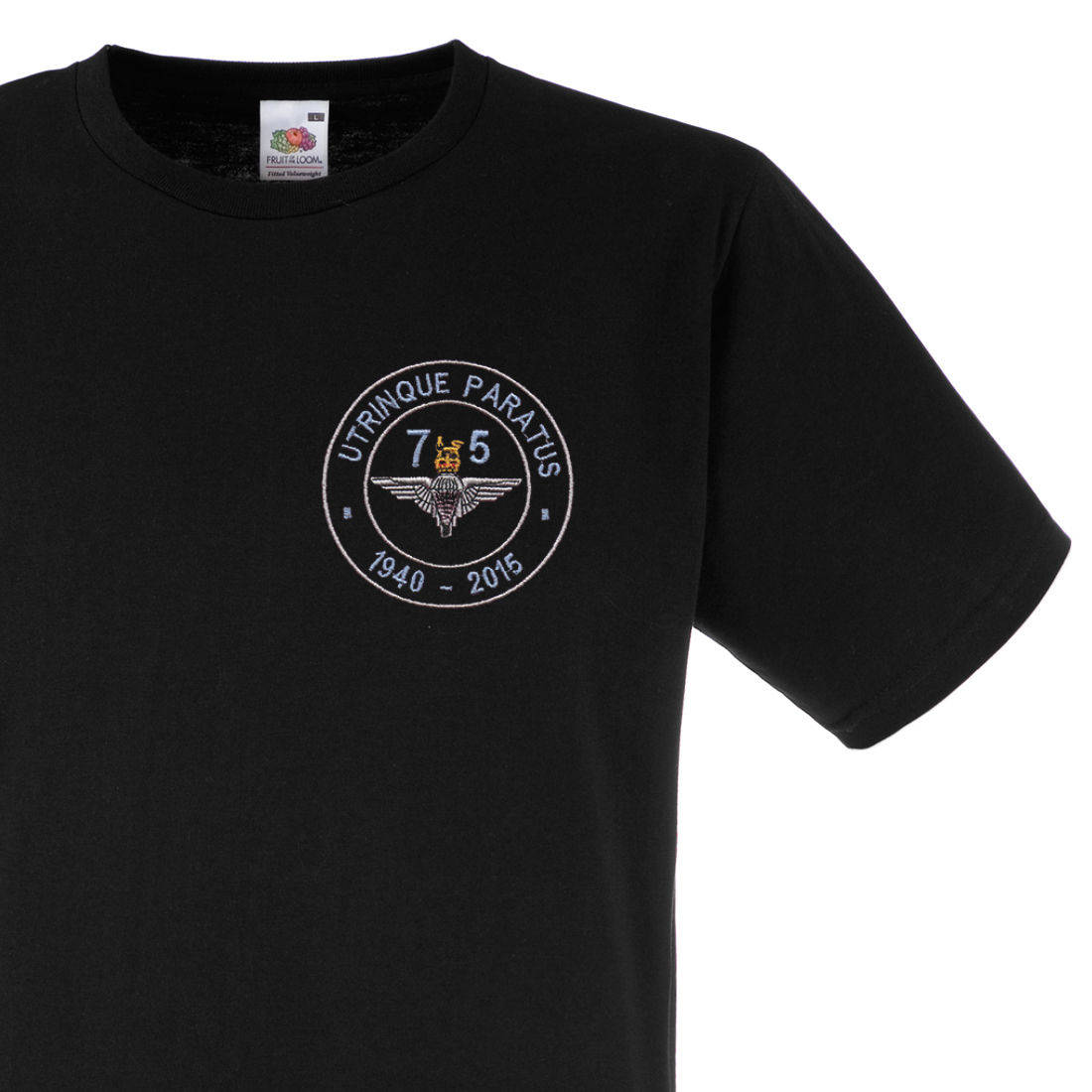 Fitted T-Shirt - Black - Airborne 75 (Para)