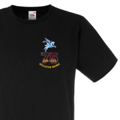 Fitted T-Shirt - Black - Operation Manna 75th (Pegasus)