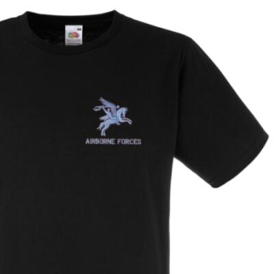 *CLEARANCE* Fitted T-Shirt, XXL, Black, Pegasus Airborne Forces