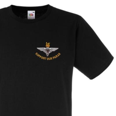 *CLEARANCE* Fitted T-Shirt, Small, Black, Support Our Paras (Parachute Regiment)