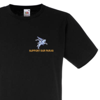 Fitted T-Shirt - Black - Support Our Paras (Pegasus)