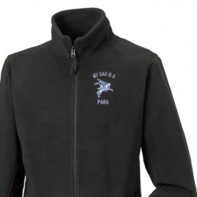 Fleece Jacket - Black - My Dad Is A Para (Pegasus)
