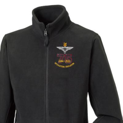 Fleece Jacket - Black - Operation Dragoon 75th (Para)