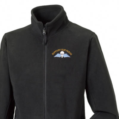 Fleece Jacket - Black - Support Our Paras (Jump Wings)