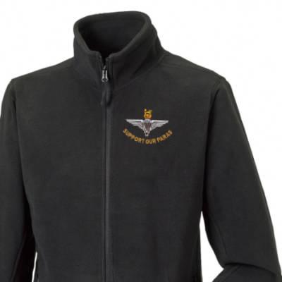 Fleece Jacket - Black - Support Our Paras (Parachute Regiment)