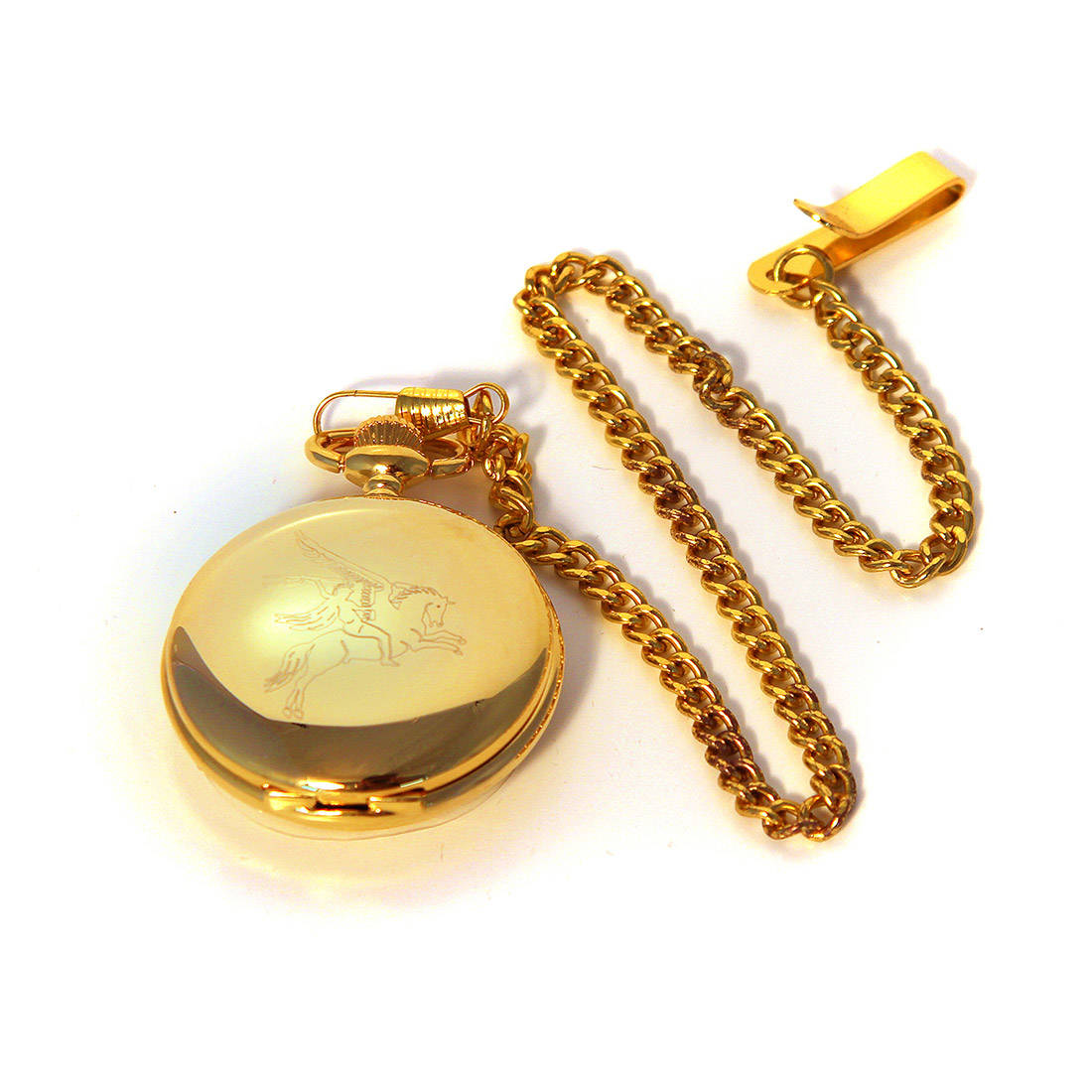 Gilt Finish Engraved Pocket Watch - Pegasus