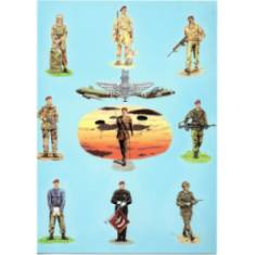 Greetings Card - 9 Soldiers, Blue