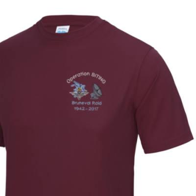Gym/Training T-Shirt - Maroon - Bruneval Raid (Operation Biting) 75th