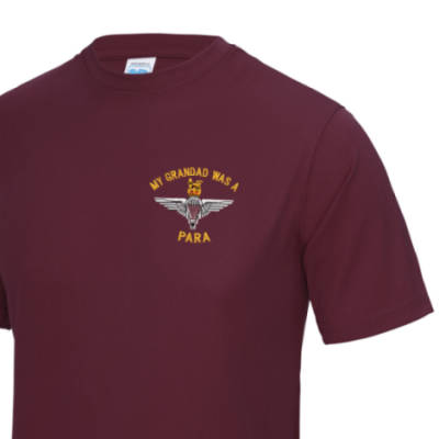 Gym/Training T-Shirt - Maroon - My Grandad Was A Para (Para)