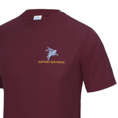 Gym/Training T-Shirt - Maroon - Support Our Paras (Pegasus)