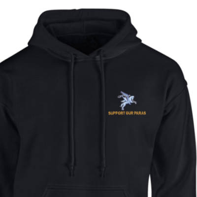 Hoody - Black - Support Our Paras (Pegasus)