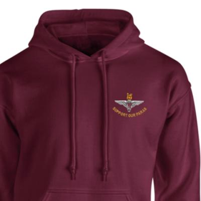 *CLEARANCE* Hoody, Medium, Maroon, Support Our Paras (Parachute Regiment)