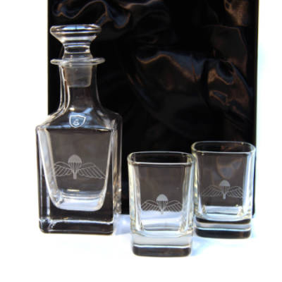 Jump Wings Nightcap Set - Pair of Dram Glasses and Decanter In Gift Box
