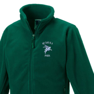 Kids Fleece Jacket - Green - My Dad Is A Para (Pegasus)