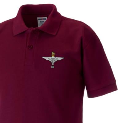 Kids Polo Shirt - Maroon - 3 Para Cap-Badge (Print)