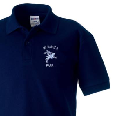Kids Polo Shirt - Navy Blue - My Dad Is A Para (Pegasus)