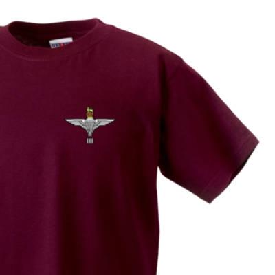 Kids T-Shirt - Maroon - 3 Para Cap-Badge (Print)