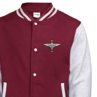 Kids Varsity Jacket - Maroon / Grey - 3 Para Cap-Badge (Print)