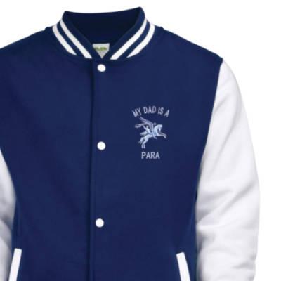 Kids Varsity Jacket - Navy Blue / White - My Dad Is A Para (Pegasus)