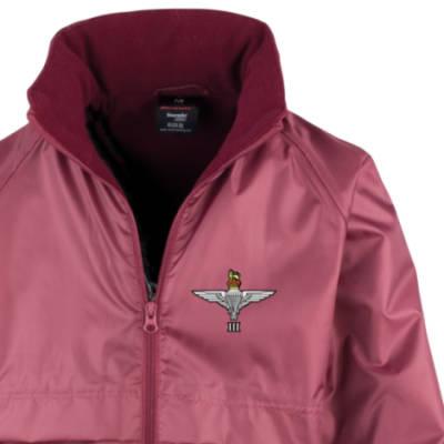 Kids Lightweight Waterproof Jacket - Maroon - 3 Para Cap-Badge (Print)