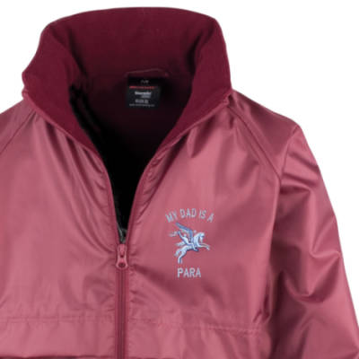 Kids Lightweight Waterproof Jacket - Maroon - My Dad Is A Para (Pegasus)